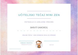 učiteljski tečaj joge za otroke certifikat